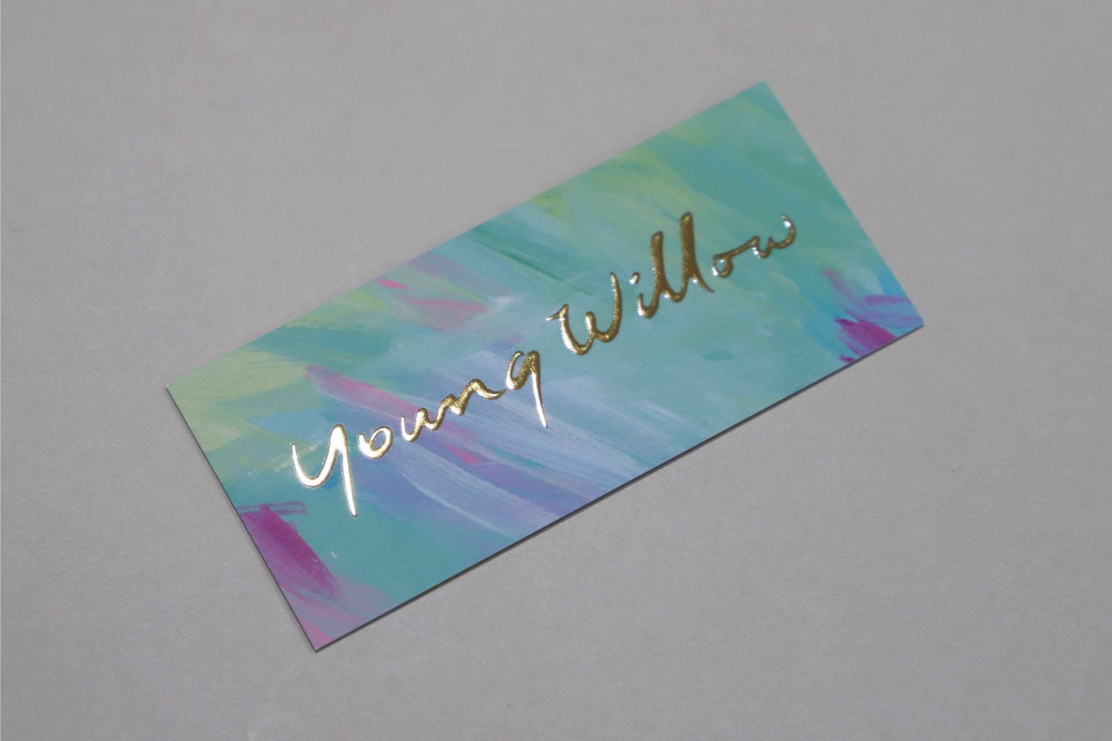 colourful business card with gold foil